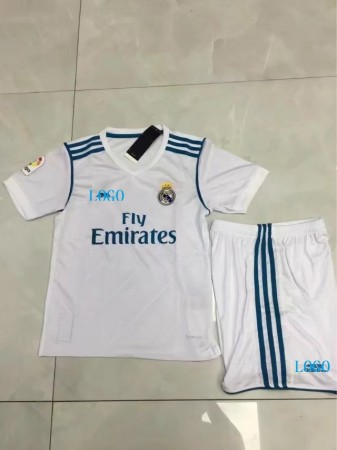 2017/18 Kids Real Madrid Home Soccer Jersey Uniforms White Children Football Kits soccer jerseys for kids