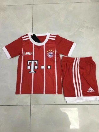 17/18 Children Bayren Munich Home Red Jersey Uniform Boy Cheapest Football Complete Uniform