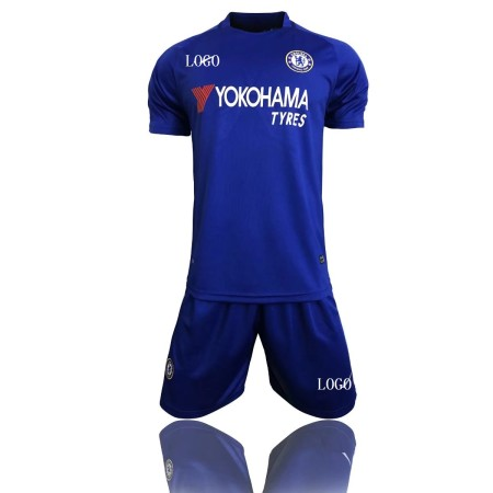 17/18 Cheap Adult Chelsea Home Soccer Jersey Blue Uniform  Man Shirt+Short Tracksuit