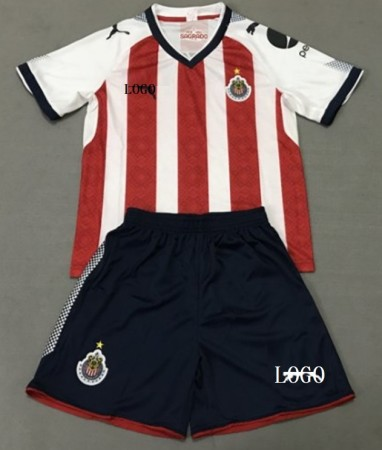 17/18 Adult Chivas Soccer Uniforms Red/white Football Kits