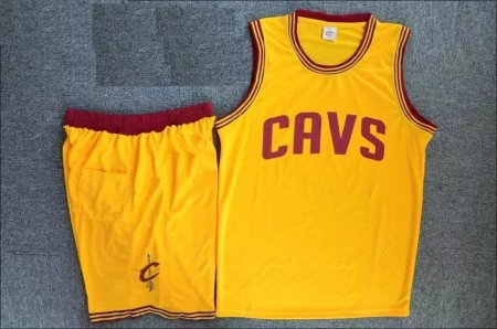 Men'sAdult  Cleveland Cavaliers Kevin Yellow Love Jersey Uniforms Adult Basketball Kits Custom Name And Number