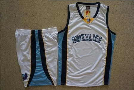 Men's Memphis Grizzlies White  Custom Replica Jersey  Uniforms Adult Basketball Kits