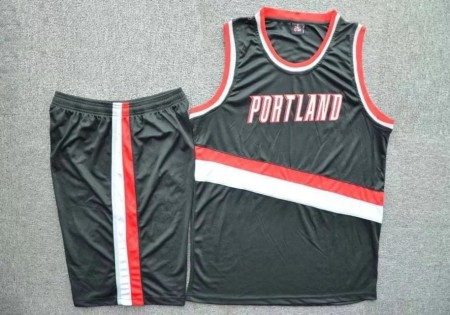 Men's Portland Trail Blazers  Black  Jersey Kits Custom Name Number Adult Sport Team Uniforms