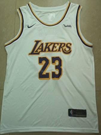 Men Laker Lebron James 23 White Jersey Basketball Shirt