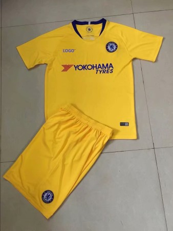 2018/19 Cheap Adult Chelsea Away Yellow Soccer Jersey Uniform Men Football Kits