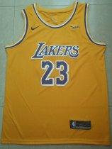 Men Laker Lebron James 23 Yellow Jersey Basketball Shirt