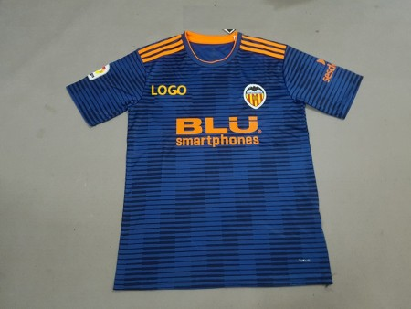 18-19 Valencia Away Blue Soccer Jersey -Thai Quality