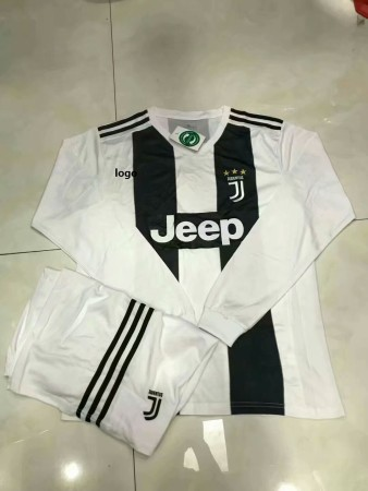 18/19 Adult Juventus Home Long Sleeve Soccer Jerseys Winter Sport Training Football Uniforms