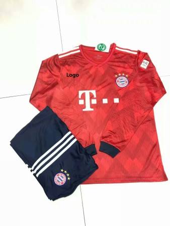 18/19 A Quality 18/19 Adult Bayern Munich Home Red Long Sleeve Jersey Uniform Football Uniforms