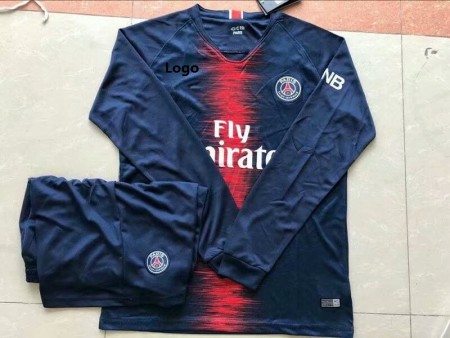 18/19 Adult PSG Long Sleeve Soccer Jerseys Winter Paris Sport Training Football Uniforms
