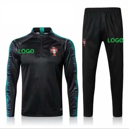 2018/19 Men Portugal Black Soccer Tracksuit Adult Football Training Suits