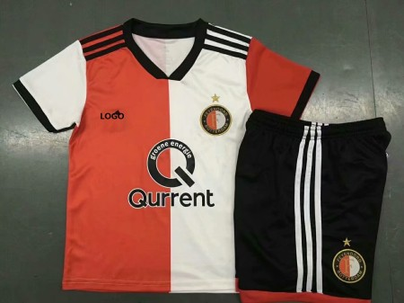 18/19 Feyenoord Home Red And White Kids Soccer Jersey Sets Children Football Uniforms