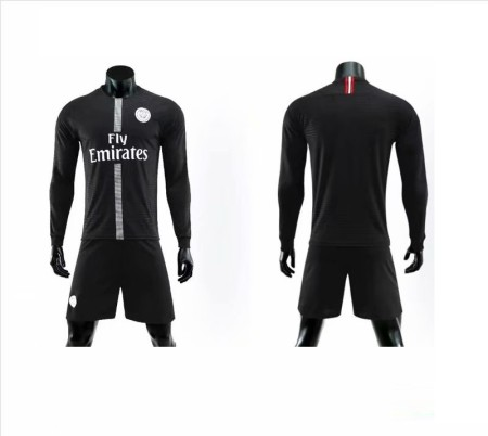 Without Logo 18/19 PSG Long Sleeve Soccer Uniforms Adult Football Kits