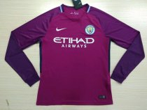 Manchester City 17-18 Away Long Sleeve Soccer Jersey LS Football Shirt Discount Cheap Shirts AAA Thailand Quality