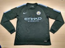 Manchester City 17-18 Third Away Champions Long Sleeve Soccer Jersey LS Football Shirt Discount Cheap Shirts AAA Thailand Quality