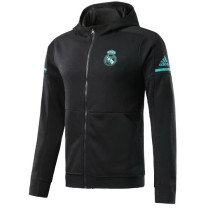Real Madrid 17-18 Hoodies Black Color Jacket With Cap AAA Wuality Discount Coat Wholesale Online