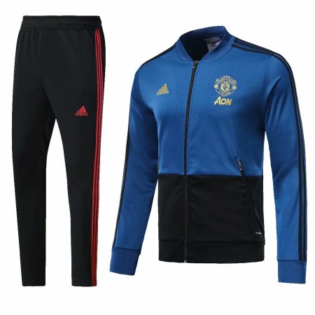 Manchester United 2018-2019 Blue Jacket With Pants Full Set Training Suit Tracksuit AAA Thai Quality Discount sports wear