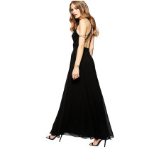 Fashion Women Maxi Slip Dress Sex Summer Black Backless Dress Beach Slip Dress V-Neck Ladies