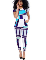 Long Pant Jumpsuit Slim Sexy African Xxxl Women Plus Size Clothes Block Printing
