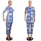 Jumpsuit Slim Sexy Women Clubwear Plus Size Clothes Block Printing Long Pant
