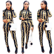 2017 Fashion Chain Printing Two Piece Set Women Clothing Autumn Winter Lady Suit