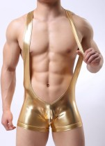 Men Imitation Leather Teddies Lingerie