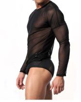 Sexy Men's Mesh Long Sleeve T-shirt