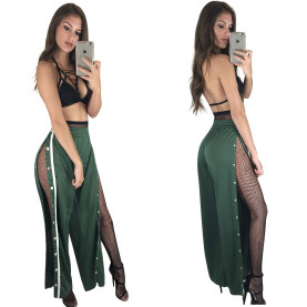 Rivet Slit Side Barelegged Trousers Sexy Women Night Clubwear Images