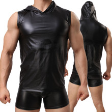 Sexy Black Imitation Leather Short Sleeve Shirts With Hood
