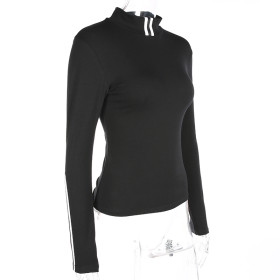 women's plus size high neck slim fit skinny casual sport wear pullover sweatshirt no hood