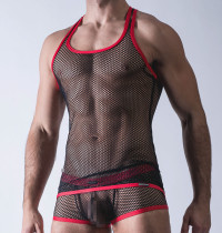 Sexy Black Vests for Men Transparent Mesh Lingerie