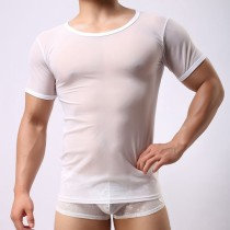 Sexy Men's Underwear Shirts Short Sleeve T-shirt Top Mesh Sheer Undershirt Sleepwear