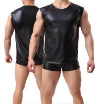 Sexy Black Imitation Leather Sleeveless Vest Mens Slim Fit