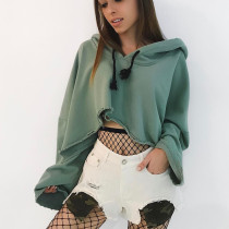 Women's Casual Loose Solid Color Long Sleeve Drawstring Crop Top Pullover Hoodies Sweatshirt