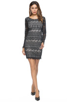Autumn Long Sleeve Black  Lace Mini Dress Contrast Color Short Dress