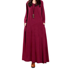 Long Sleeve Vintage Ethnic Style Maxi Dresses
