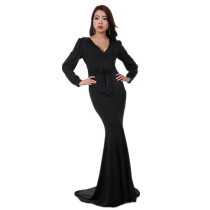 Long Sleeve Black Evening Dress Fishtail Skirt