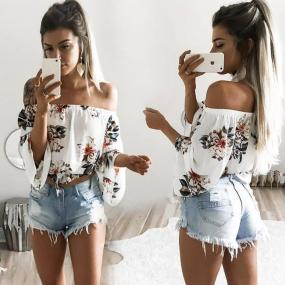 Hot Sale Women Off Shoulder Shirt Peony Rosettes Flower Top Half Sleeve Female Ladies Summer Clothes