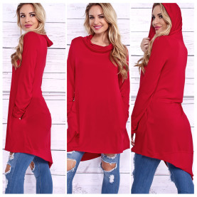 Womens Casual Irregular Maxi Solid Color Hooded Sweatshirts Blouse Top Dress