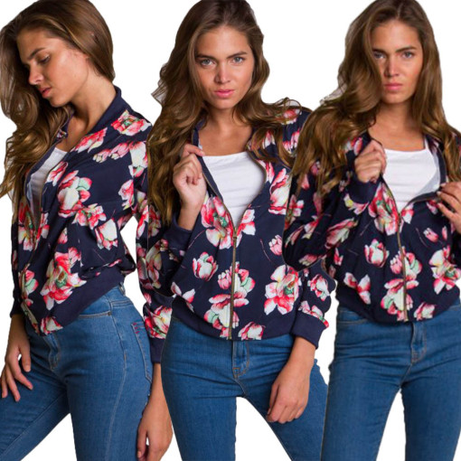Women's Floral Print Long Sleeve Classic Quilted Zip Up Short Bomber Jacket with Pockets