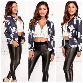 Women's Floral Print Classic Quilted Baseball Jacket Fall Short Biker Bomber Jacket Coat