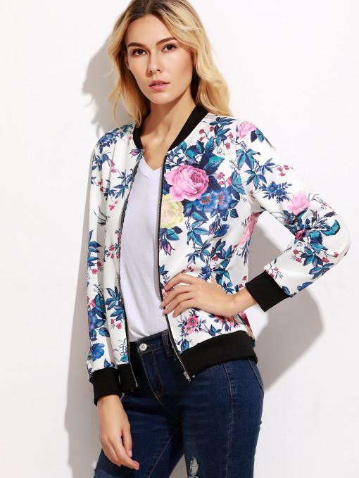 Women's Zipper Floral Printed Jacket Short Coat / Fashion Print Jacket