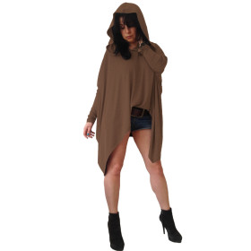 Women's Long Sleeve Loose Fit Asymmetrical Hem Hoodie Shirt