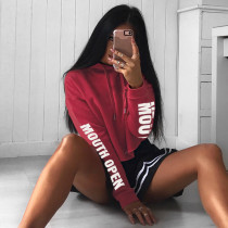 Womens Sexy Letters Printed Long Sleeve Red Crop Top Sweatshirt with Unique Unsewing Hem