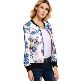 Women's Zipper Floral Printed Jacket Short Coat / Fashion Print Jacket