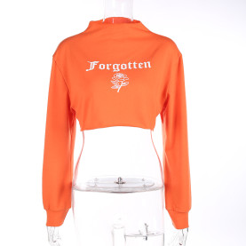 Women Solid Orange Long Sleeve Causal Loose Cropped Top Jumper Pullover Sweatshirt With Floral Letter Printed