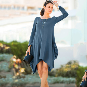 Irregular Hem Multi Color Long Sleeve Autumn Midi Dress