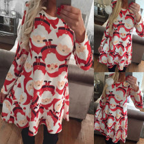 2017 European Fashion Long Sleeve Clothing Wholesale Red Colorful O Neck Women Dress For Christmas