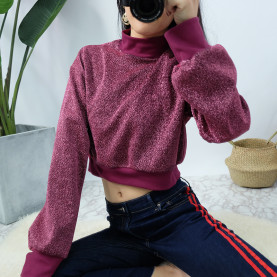 Womens Unique Sequins Silk Stretchy Long Sleeve  Crop Top Pullover Sweatshirts