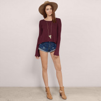 Lace Up Bottoming Shirt With Hollow Out Backless